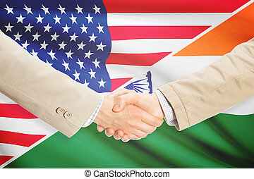 uzgodnienie, zjednoczony, indie, -, stany, biznesmeni
