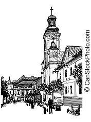 uzhgorod, esboço, c, ilustração, vetorial, pretas, digital, ...