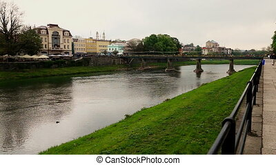 Uzhgorod, Ukraine - April 27: Uzhgorod city spring river Uzh...