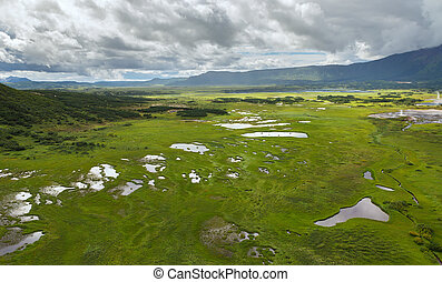 Uzon Caldera in Kronotsky Nature Reserve on Kamchatka Peninsula.