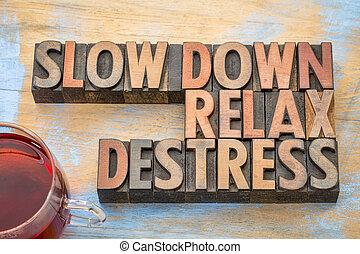 vá, relaxe, destress, palavra, abstratos, em, madeira, tipo