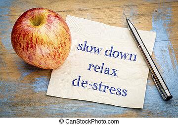 vá, relaxe, e, de-tensão, ligado, guardanapo