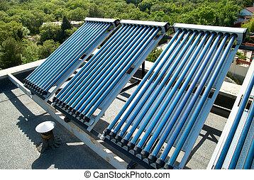 vácuo, celas solares, para, água, sistema aquecendo