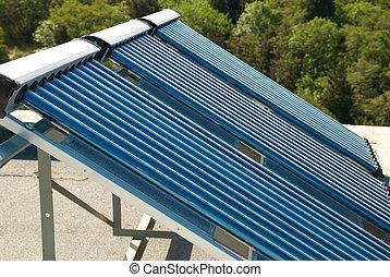 vácuo, solar, água, sistema aquecendo