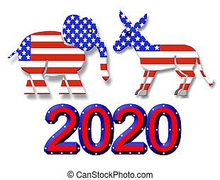 választás, 2020, fél, jelkép, grafikus