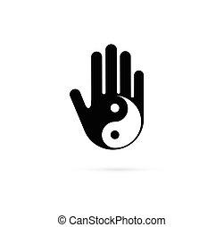 választás, kínai gyógyszer, és, wellness, jóga, zen, elmélkedés, fogalom, -, vektor, yin yang, ikon, jel