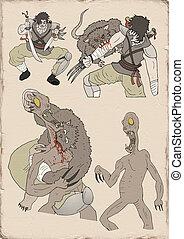 válečníci, ilustrace