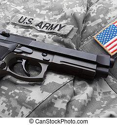 váll, felett, azt, egyenruha, amerikai, solder's, folt, kézifegyver