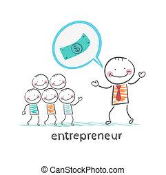 vállalkozó, beszél, körülbelül, pénz