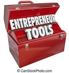 vállalkozó, eszközök, piros, szerszámosláda, szakértelem,...