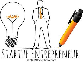 vállalkozó, formál, startup, ügy