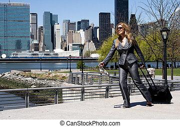 vállalkozó, futás, woman ügy