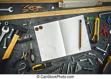 válogatott, do őt, eszközök, és, jegyzetfüzet