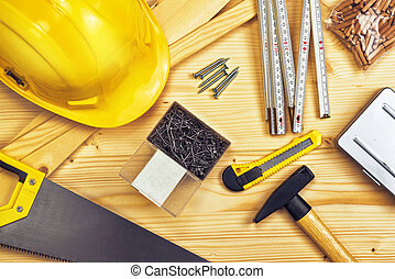 válogatott, famunka, szerkesztés, eszközök, vagy, ácsmesterség