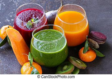 válogatott, friss, juices, alapján, gyümölcs