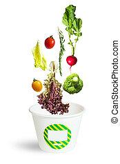 válogatott, friss növényi, esés, bele, egy, kartondoboz
