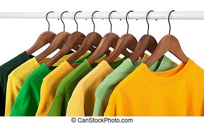 válogatott, közül, zöld, és, sárga, kényelmes, ing