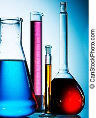 válogatott, laboratórium glassware, felszerelés