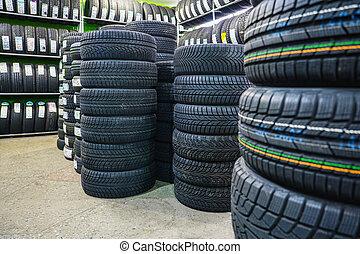 változatosság, autó, gumiabroncsok, autó, új, állvány, bolt