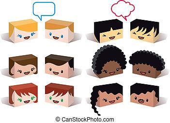 változatosság, avatars, vektor
