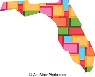 változatosság, fogalom, megyék, szín, map., florida, state., blokkok, boldog