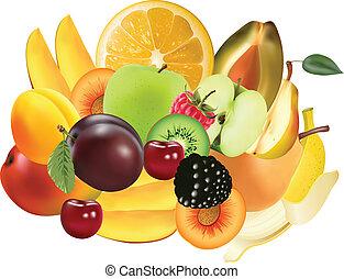 változatosság, közül, egzotikus gyümölcs