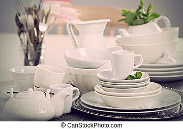 változatosság, közül, fehér, dinnerware