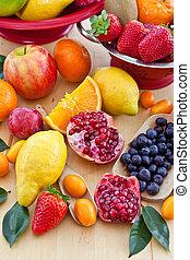 változatosság, közül, friss gyümölcs