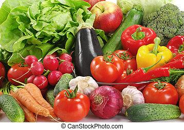 változatosság, közül, nyers növényi