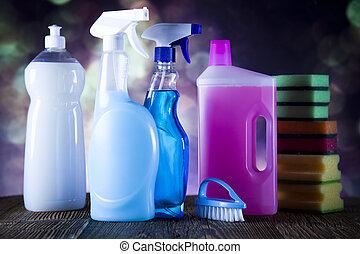 változatosság, közül, takarítás, termékek