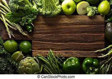 változatosság, közül, zöld növényi, és, gyümölcs