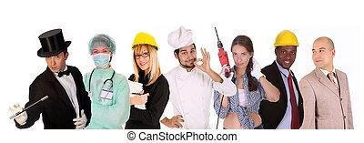változatosság, munkás, emberek