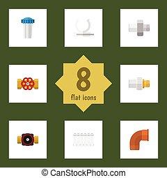 válvula, apartamento, oleoduto, jogo, filtration, suporte, elements., canalização, torneira, inclui, também, bomba, vetorial, objects., radiador, outro, ícone