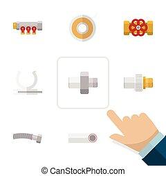 válvula, apartamento, rolo, jogo, elements., rolo, indústria, válvula, pipework, inclui, também, bomba, vetorial, objects., outro, ícone