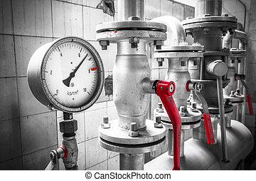 válvulas, industrial, detalhe, medida pressão, cano