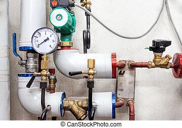válvulas, sistema, calefacción
