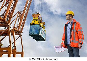 vám, ellenőrzés, megvizsgáló, -ban, egy, kereskedelmi, kikötő