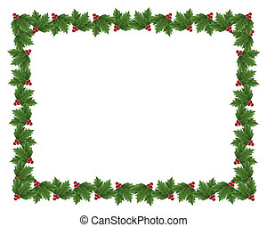 vánoce, cesmína, hraničit, ilustrace