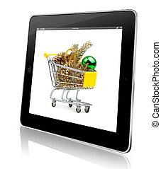 vánoce, concept., stav připojení shopping