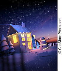vánoce, doma, zima krajinomalba
