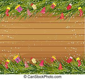 vánoce, grafické pozadí, dále, dřevo