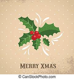 vánoce, grafické pozadí, s, cesmína, zub
