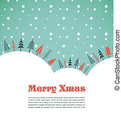 vánoce, grafické pozadí, s, domů, a, ptáci