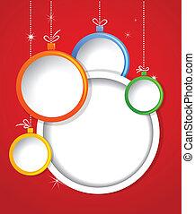 vánoce, grafické pozadí, s, kule, malování