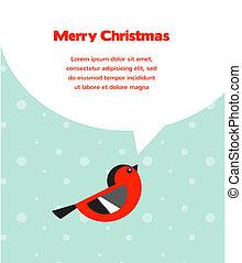 vánoce, grafické pozadí, s, ptáček, řeč, bublat