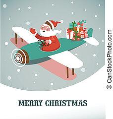 vánoce, grafické pozadí, s, za, letadlo, a, santa