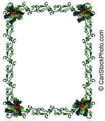 vánoce, hraničit, cesmína