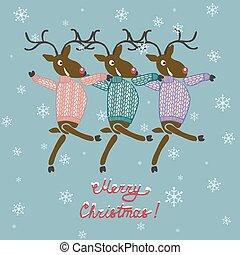 vánoce, jelen, do, svetr