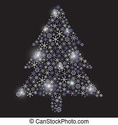 vánoce kopyto, od, sněhové vločky, eps10
