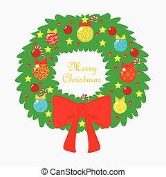 vánoce kotouč, s, barvitý, cetka, a, červené šaty lem
